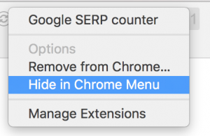 Google SERP counter hide option