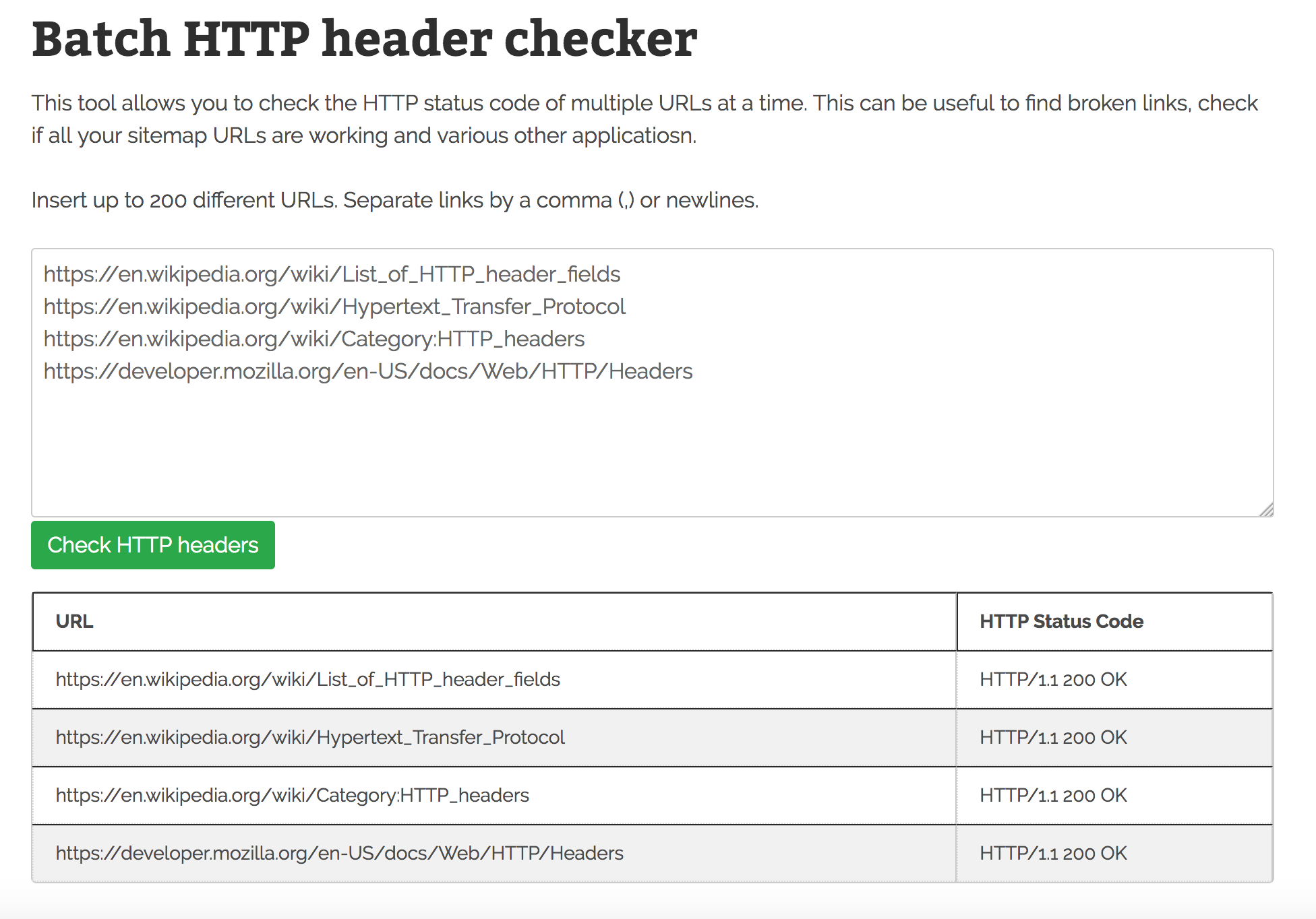 SEO tool HTTP headers