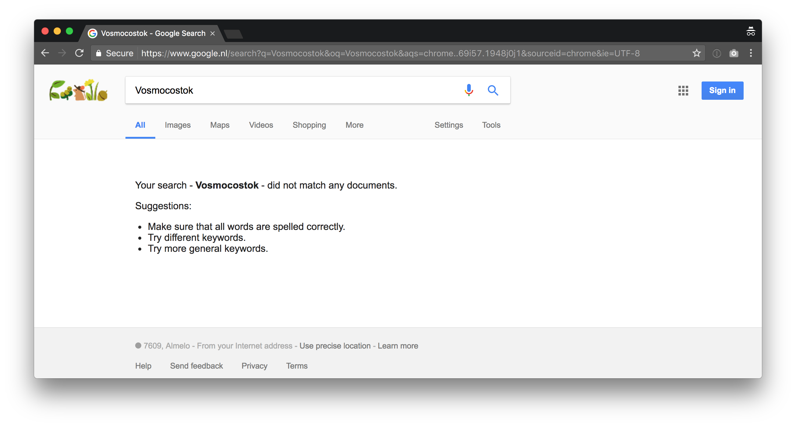 Google no results found for keyword