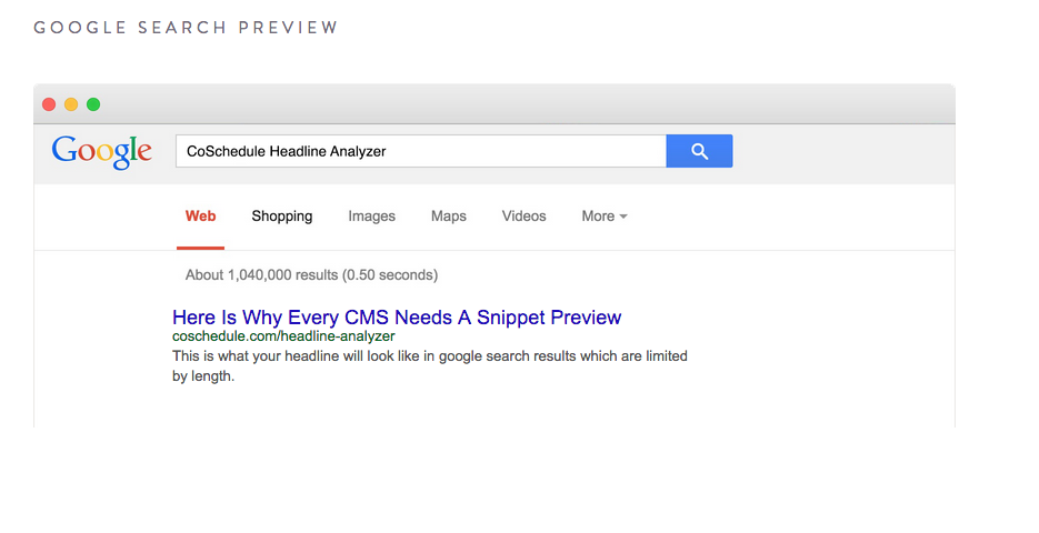 google serp preview in CoSchedule